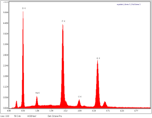 EDS spectrum showing KPO4 and NaCl