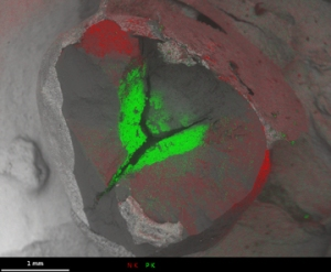 Fig 3 N (red) and P (green) EDS maps superimposed on fractured stone
