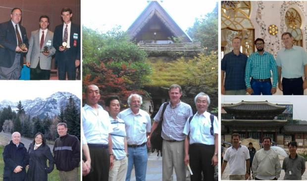 1) Brent Adams, Karsten Kunze (ETH Zurich) and I receiving the Henry Marion Howe Medal in 1994. 2) Francisco Cruz Gandarilla (Instituto Politécnico Nacional, Mexico) and Lisa Chan (Tescan USA) at Sundance Ski Resort. 3) David Dingley and I with colleagues from TSL Solutions in Tokyo (Adachi-San, Jo-San and Suzuki-San) 4) David Field (Washington State University), Abdul Majeed Mohammed (Business Communications LLC, UAE) at the Grand Mosque in Abu Dhabi 5) Matt Nowell and I getting a tour of Gyeongbokgung Palace in Seoul from a local colleague after ICOTOM 13.