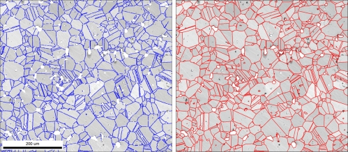 a) Standard grain boundary overlay on IQ map based on grain orientation recognition. Non-indexed areas are white. b) IQ map with reconstructed boundaries including the antigrain edges.