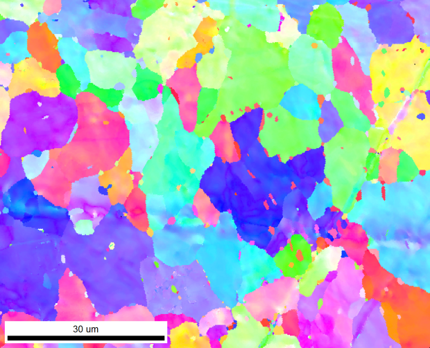 Figure 4. This map was taken at 2x2 binning. Internal deformation of the grains is visible, with inclusions between relatively undeformed.