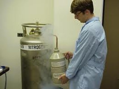 Very old stock photo of a scientist filling a LN2 dewar for the old SiLi detectors.