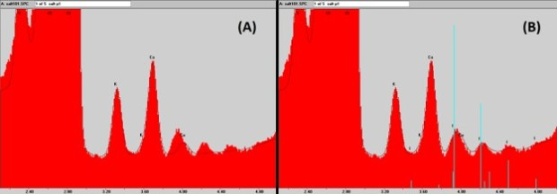 (A): Salt spectrum with peak deconvolution, not including I(L) series; Fig 1(B): The same salt spectrum as in (A) with peak deconvolution including I(L) series.
