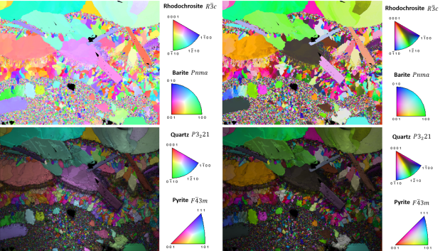 IPF maps for a mineral specimen containing rhodochrosite, barite, quartz and pyrite. The left column of maps are displayed using the standard OIM color mapping scheme and the right column using the PUCM scheme. The top row of maps are standalone IPF maps, the second row of maps are IPF maps overlaid on gray scale IQ maps.
