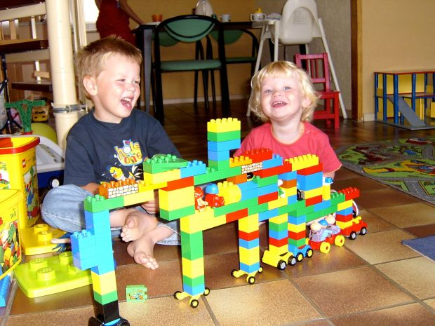 A concept car made of Duplo blocks.