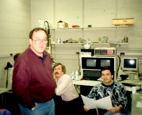Brent Adams, John Hack, and Karsten Kunze in the SEM lab at Yale.