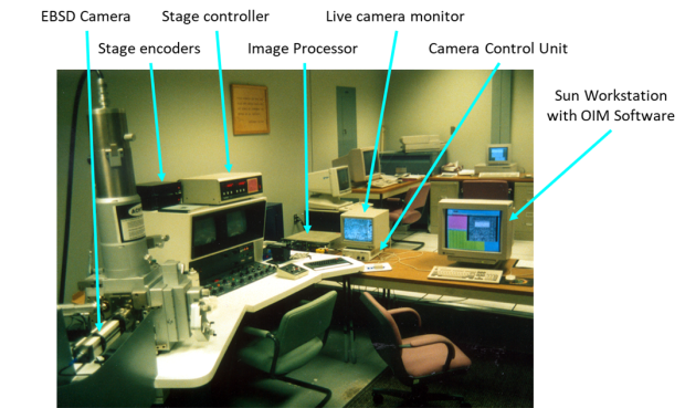 Photo of the first fully automated EBSD system in a lab at BYU (originally at Yale but later moved to BYU).