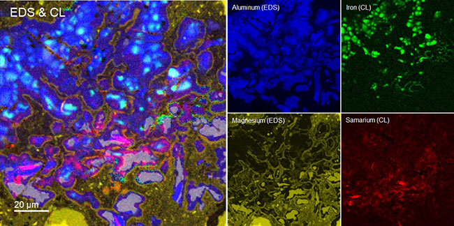 EDS and CL composite image including EDS elemental maps for aluminum(blue) and magnesium (yellow); and trace elements iron in corundum (green) and samarium in apatite (red) as revealed by CL.